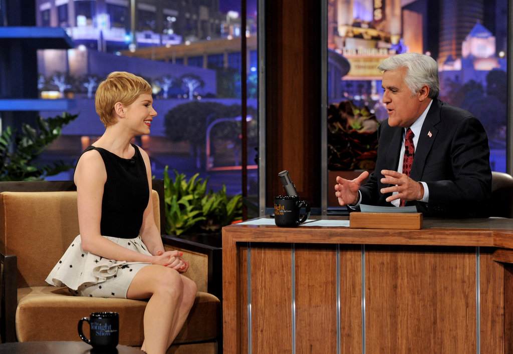 Jay Leno got a smile out of Michelle Williams.