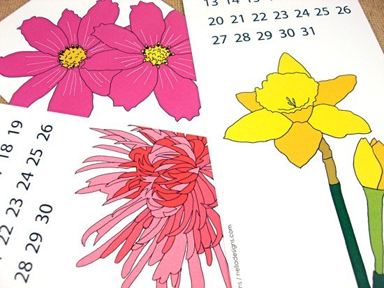 Year in Bloom Printable 2012 Calendar ($9)