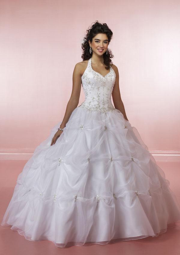 Feature the backless style on most halter ball gown wedding dresses
