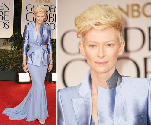 Tilda Swinton Wears a Haider Ackermann Tuxedo Gown at the 2012 Golden Globes