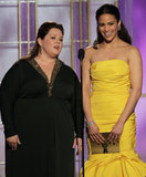 Paula Patton and Melissa McCarthy presented at the 2012 Golden Globe Awards.