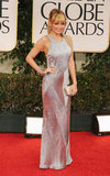 Nicole Richie wore a silver dress on the red carpet at the 2012 Golden Globe Awards.