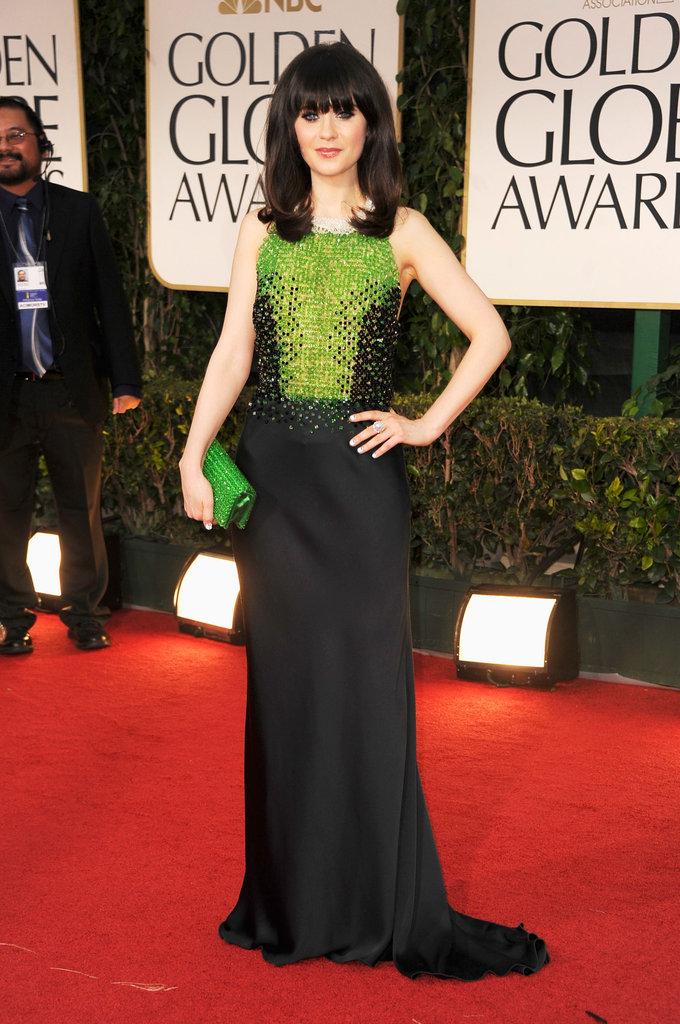 Zooey Deschanel at the Golden Globes.