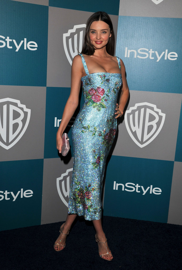 Miranda Kerr in a blue dress at InStyle's Golden Globes afterparty.