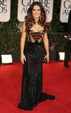 Salma Hayek in Gucci at the 2012 Golden Globe Awards.