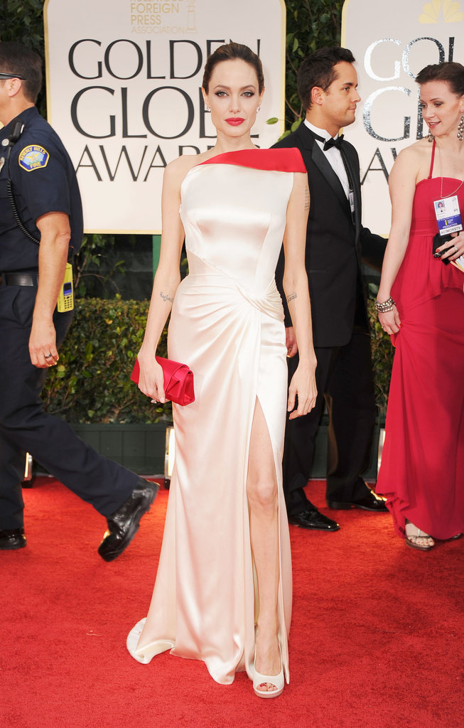 Angelina Jolie in white at the Golden Globes.
