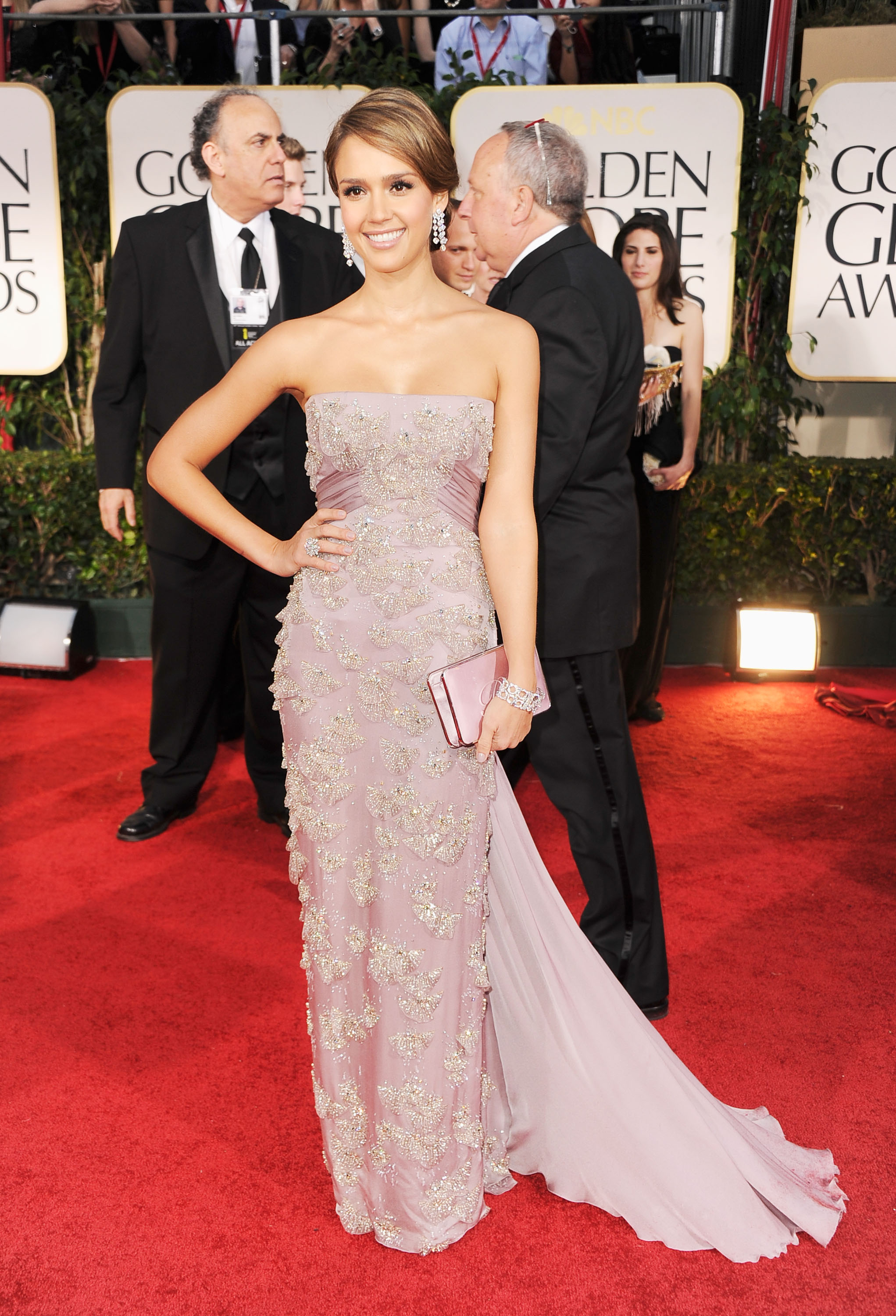 Jessica Alba wearing Gucci at the Golden Globes.