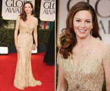 The always-gorgeous Diane Lane hit the Golden Globes in a gold Reem Acra gown.