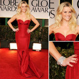 Leave it to Reese Witherspoon to prove that less is totally more. Not only are we smitten with her deep red Zac Posen gown, but we're also completely in awe of her perfectly tousled, bedhead-esque blond waves.