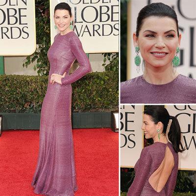 Julianna Margulies Wears a Shimmering Purple Naeem Khan at the 2012 Golden Globes