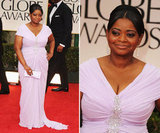 Fresh off her Critics' Choice Award wins, Golden Globe-nominated Octavia Spencer hit the red carpet glowing in a lavender Tadashi Shoji gown. Embellishments at the bodice highlight her curves, while a pretty updo highlights her mega-drop Judith Leiber earrings.