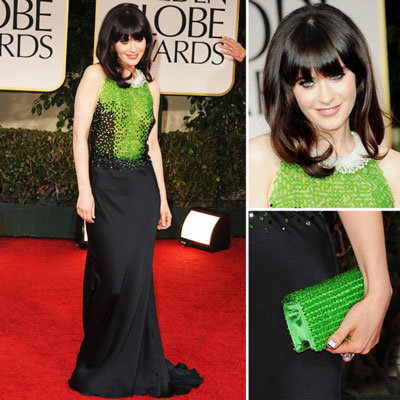 Zooey Deschanel Wears Black and Green Prada to the 2012 Golden Globe Awards