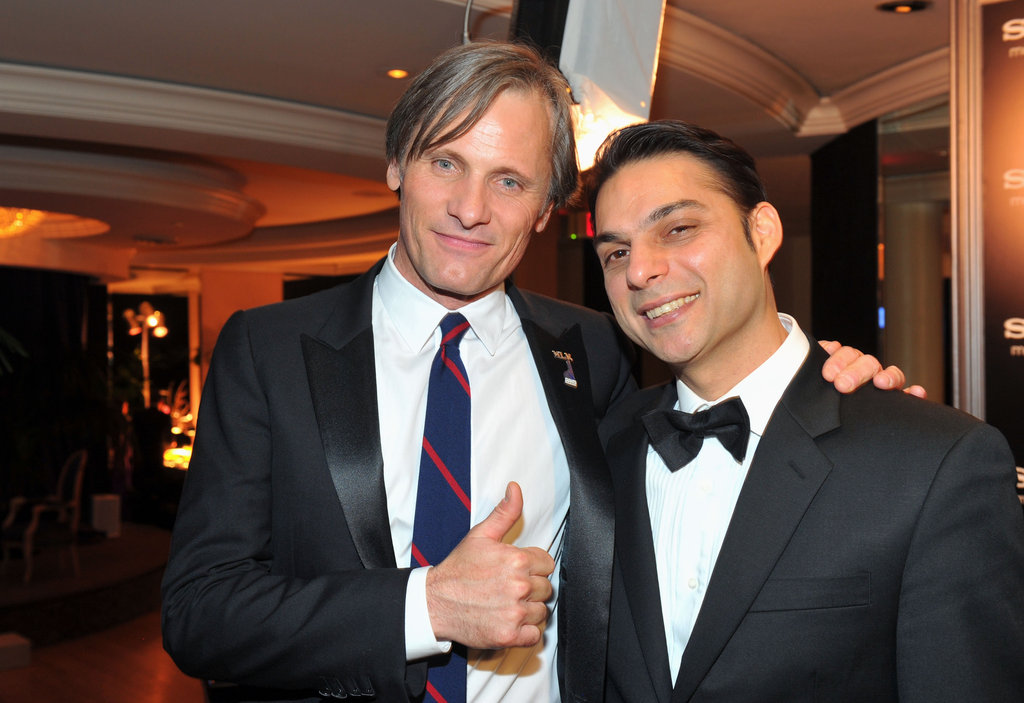 Viggo Mortensen and Peyman Moaadi hang out at an afterparty.