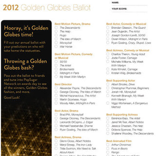 Printable Golden Globe Awards Ballot 2012