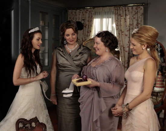 Leighton Meester as Blair Waldorf, Margaret Colin as Eleanor, Zuzanna Szadkowski as Dorota and Blake Lively as Serena van der Woodsen on Gossip Girl.  Photo courtesy of The CW