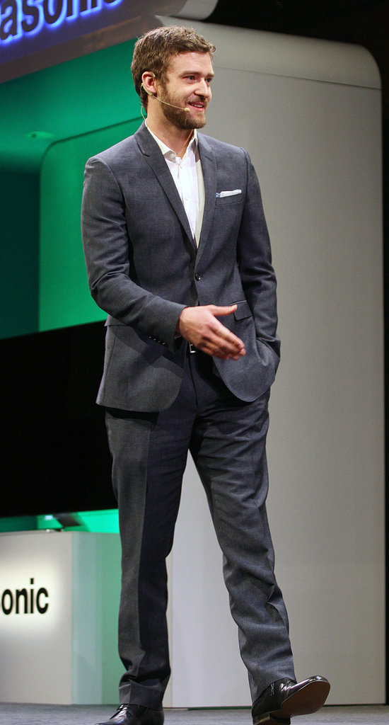 Justin Timberlake walked on stage at a Panasonic press event.