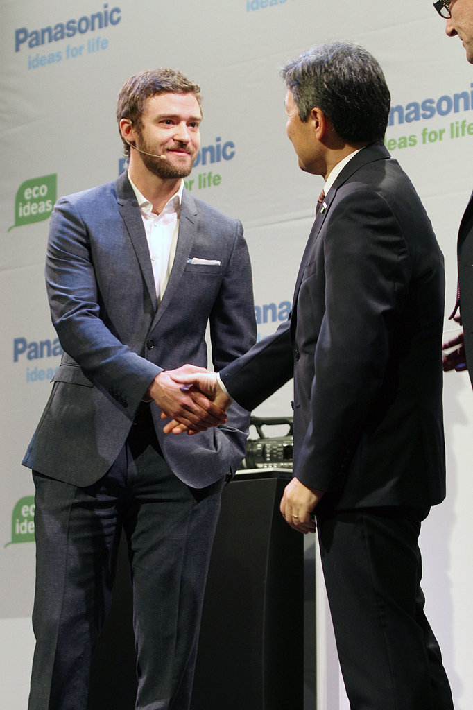 Justin Timberlake was welcomed by Panasonic's Shiro Kitajima.