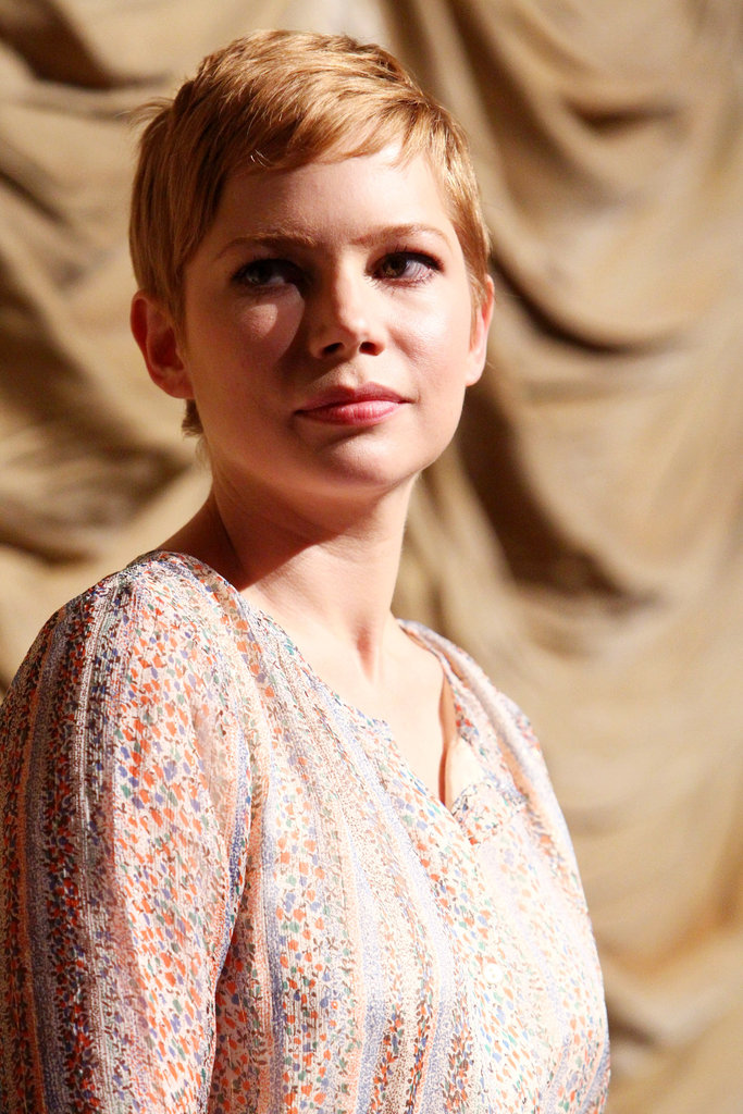 Michelle Williams wore a pale, printed dress.