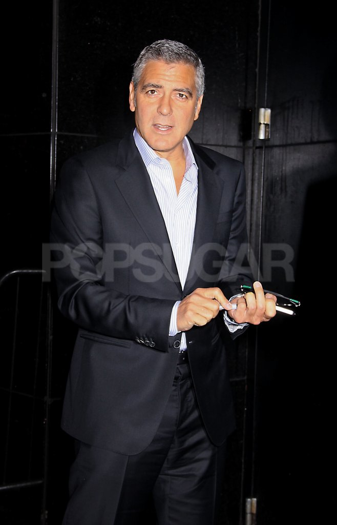 George Clooney looked handsome in NYC.