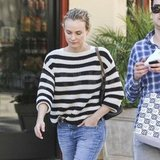 Diane wore casual stripes and boyfriend jeans.