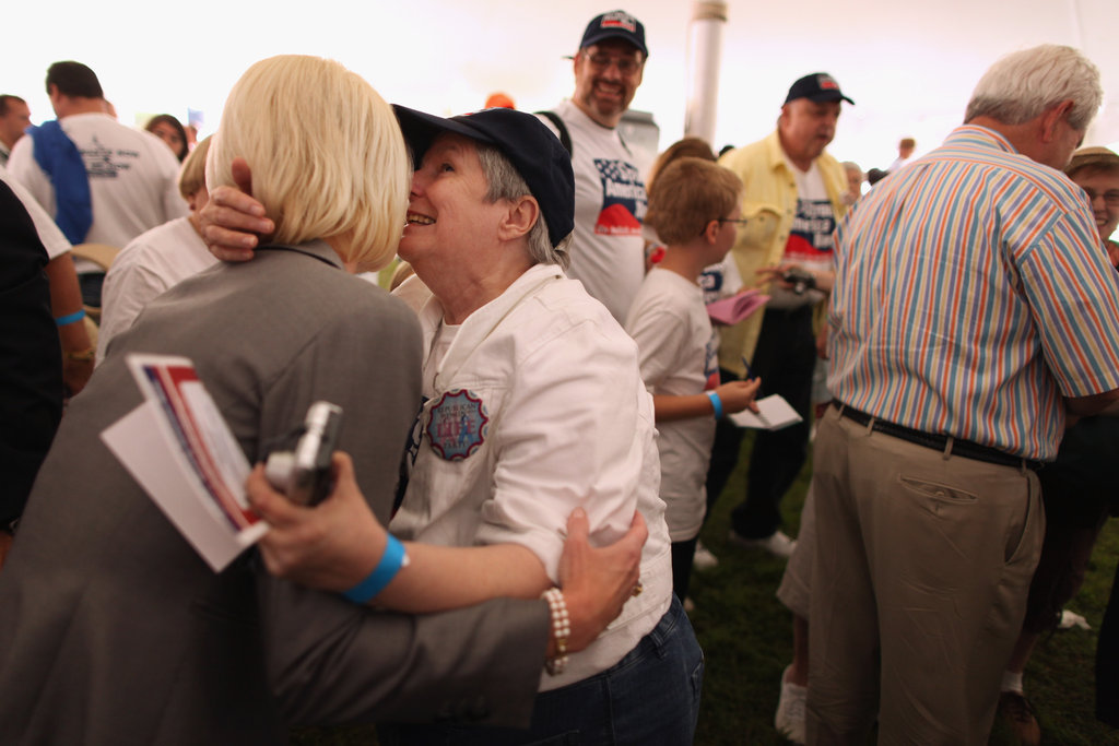 A GOP political powerbroker leans in to Callista Gingrich, Newt Gingrich's wife.