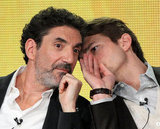 Ashton whispered to the show's creator, Chuck Lorre.