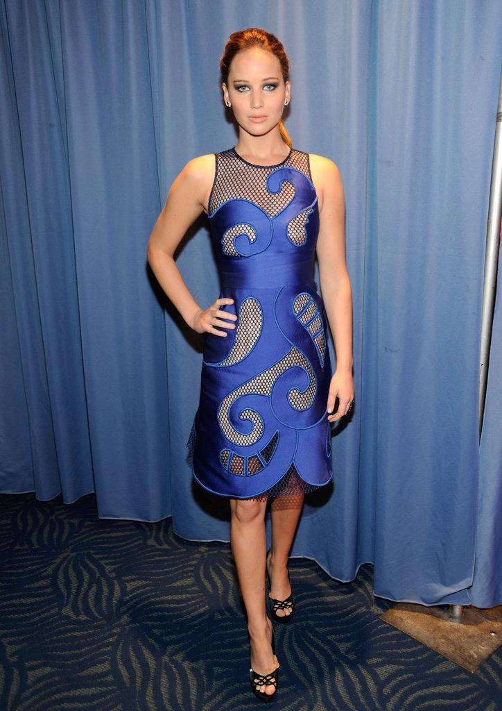 Jennifer Lawrence in a blue Viktor & Rolf dress.