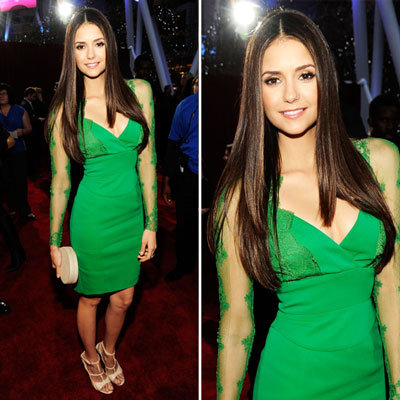 Pictures of Nina Dobrev in Emerald Elie Saab on the Red Carpet at the 2012 People's Choice Awards