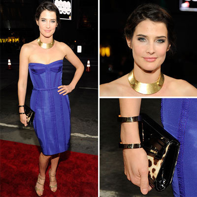 Cobie Smulders Shines in Electric Blue Reem Acra Dress on the 2012 People's Choice Awards Red Carpet