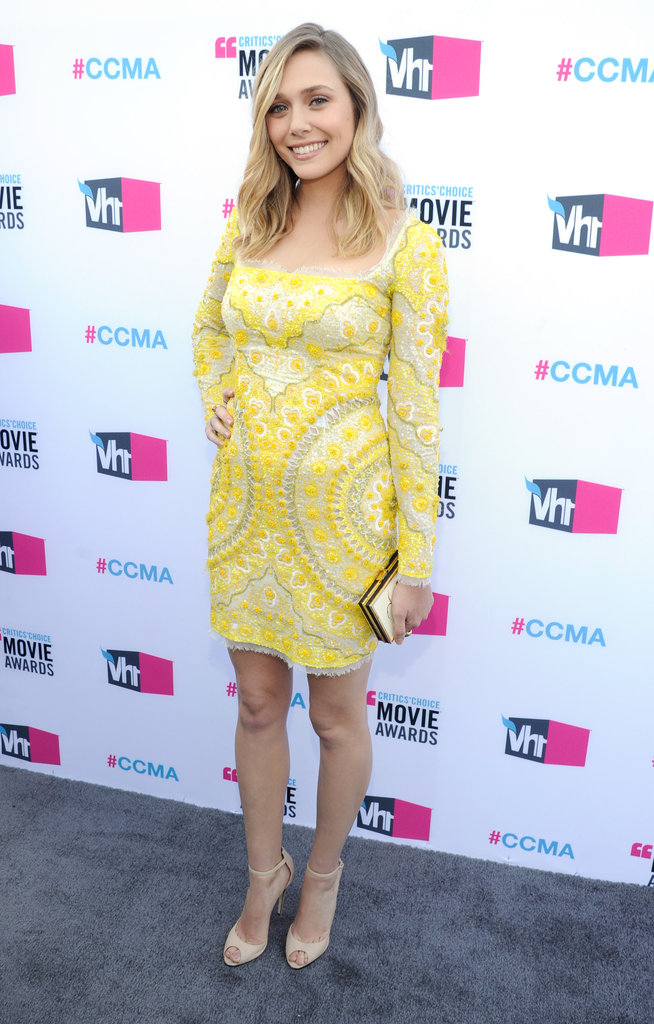 Elizabeth Olsen was in a yellow Pucci dress at the Critics' Choice Movie Awards.