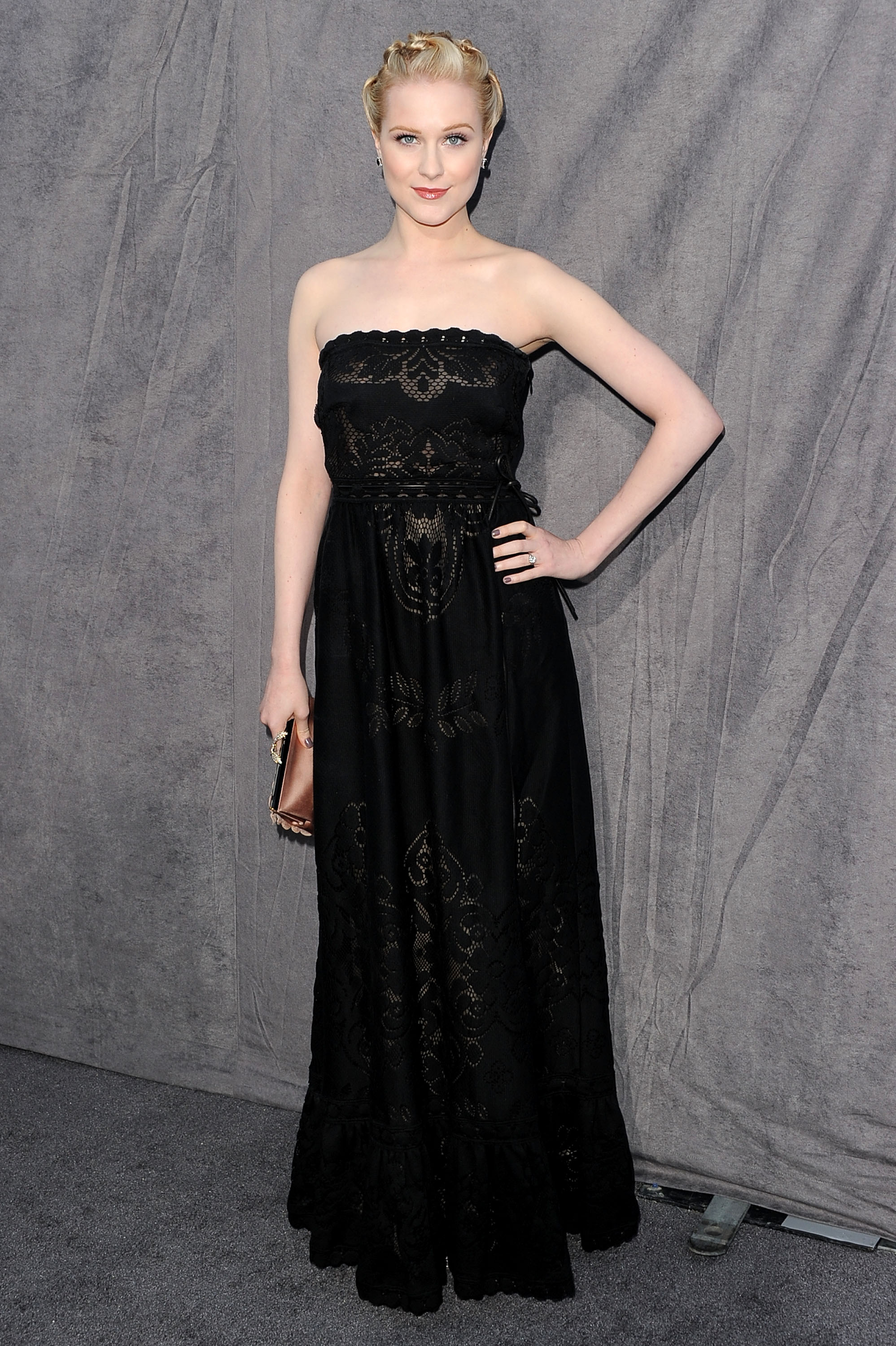 Evan Rachel Wood hit the grey carpet in a strapless black dress at the 2012 Critics' Choice Movie Awards.