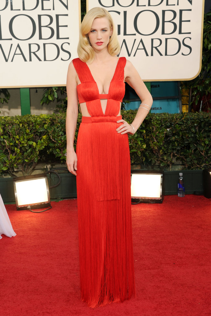 January Jones in Versace in 2011.