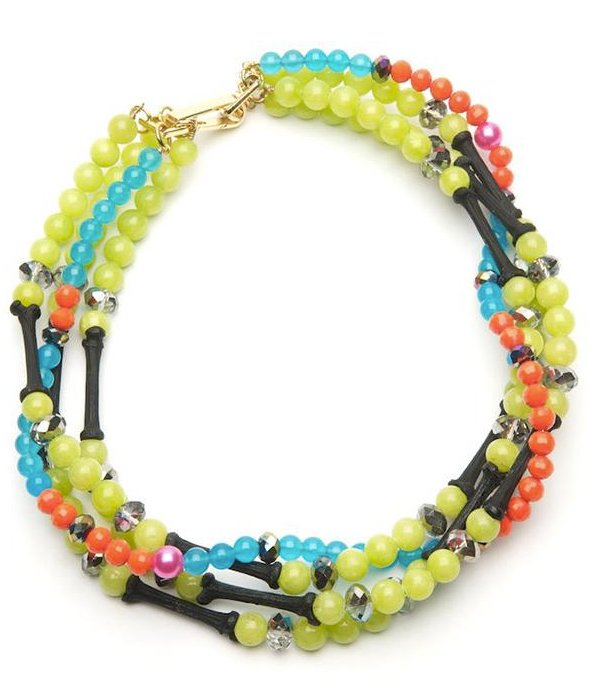 Pair an eclectic piece of jewelry with darker tones to lighten up the Winter mood.  Fenton For Kirna Zabete Neon Twisted Choker ($248, originally $495)