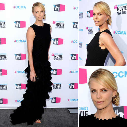 Pictures of Charlize Theron in a Black Azzedine Alaïa Dress at the 2012 Critics' Choice Awards