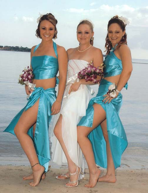 Sexy blue beach wedding bridesmaid dresses