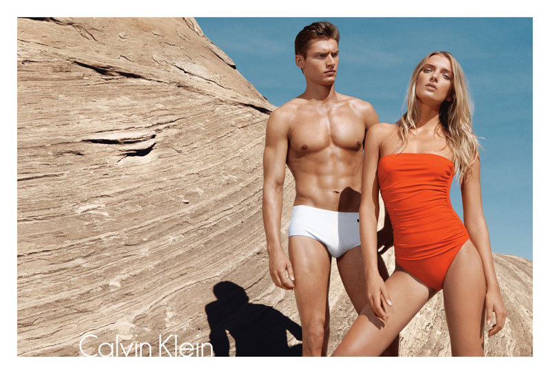 Lily Donaldson and Vladimir Ivanov strip down to swimmers for Calvin Klein Swimwear Spring 2012 campaign. Source: Fashion Gone Rogue