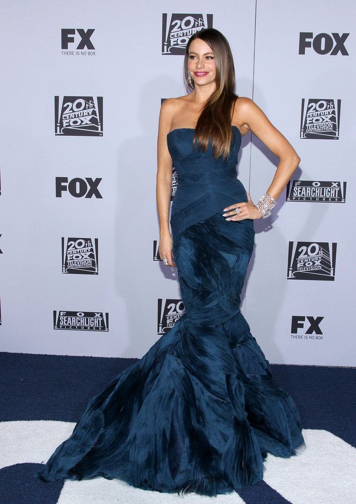 Sofia Vergara posed on the blue carpet.