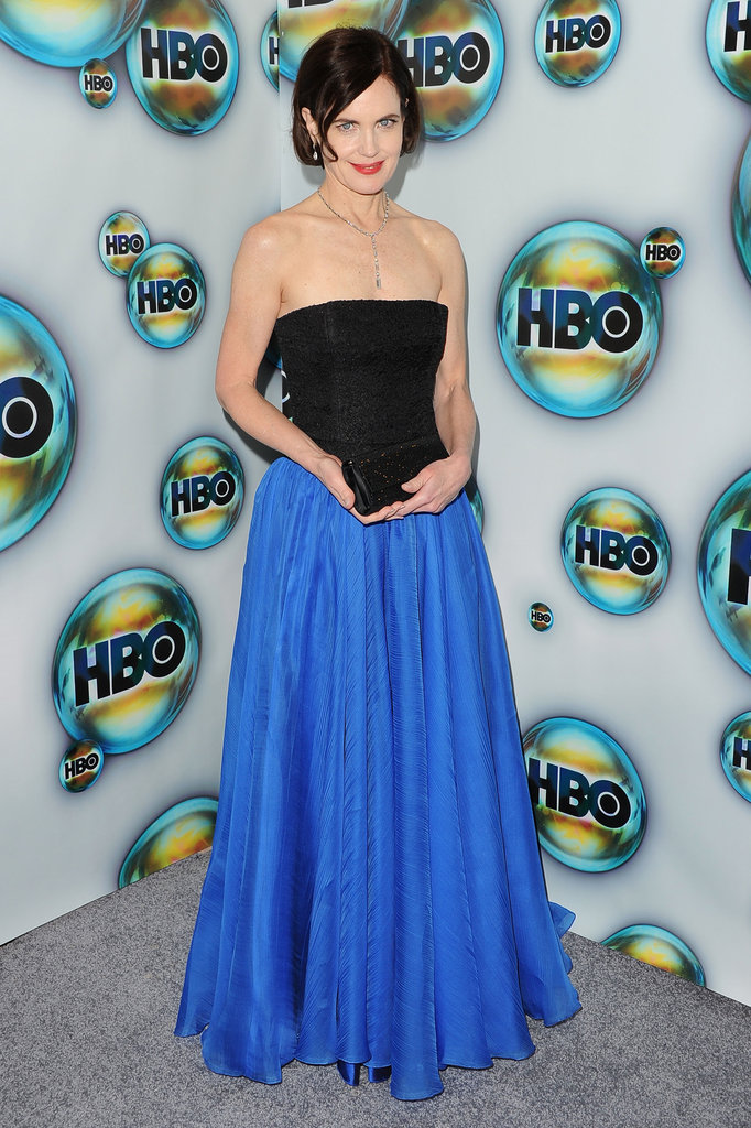Downtown Abbey's Elizabeth McGovern arrived at HBO's post-Golden Globes party.