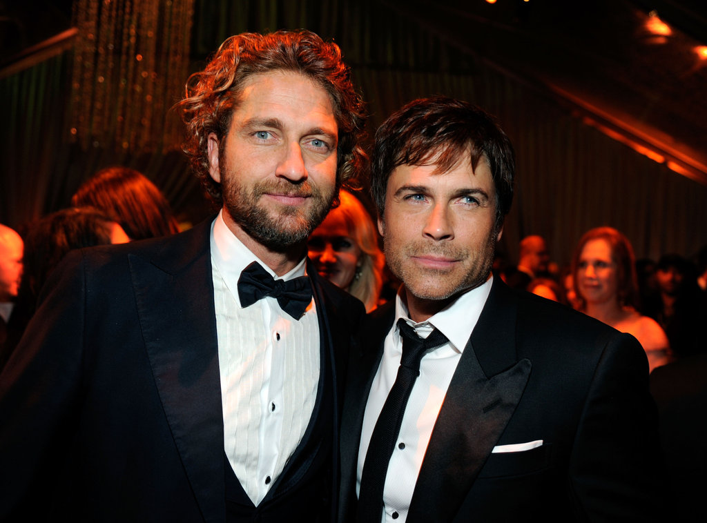 Rob Lowe and Gerard Butler caught up at the Weinstein Company's Golden Globes after party.
