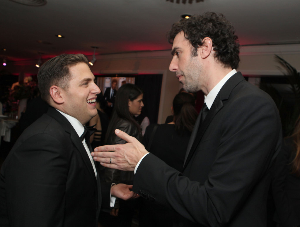 Jonah Hill and Sacha Baron Cohen chatted at the Sony Pictures Golden Globes party.