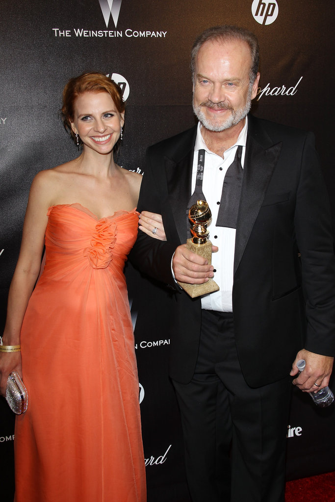 Winner Kelsey Grammer arrives with his trophy and his wife Kayte, who is pregnant with twins!