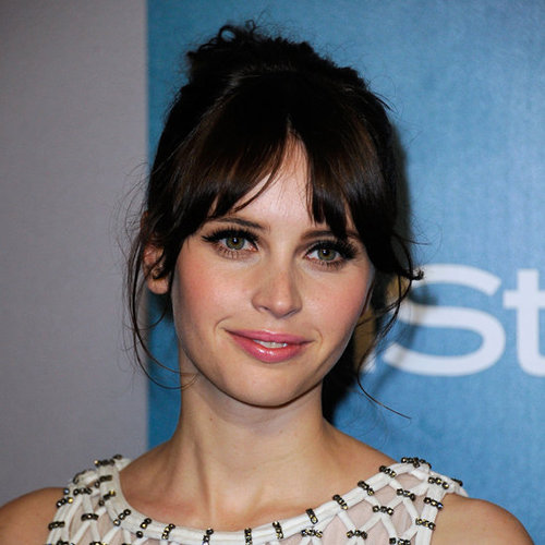 Felicity Jones Hair and Makeup at the 2012 Golden Globes InStyle After Party