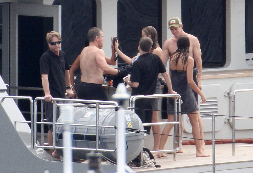 Matt and Luciana Damon with friends in St. Barts.