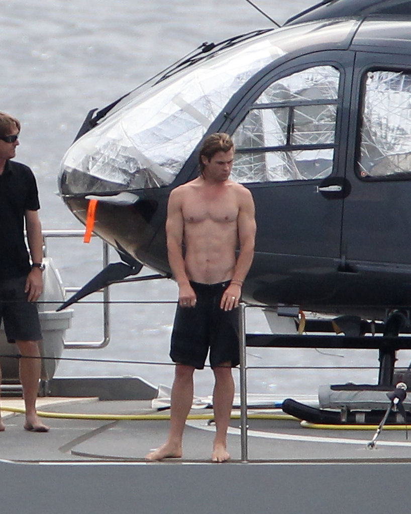 Shirtless Chris Hemsworth hung out on the yacht.