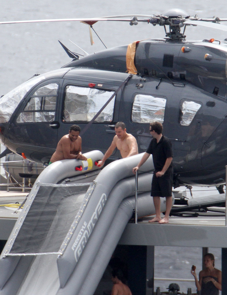 Matt Damon on a yacht shirtless.