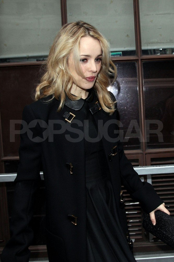 Rachel McAdams wore a black coat in London.