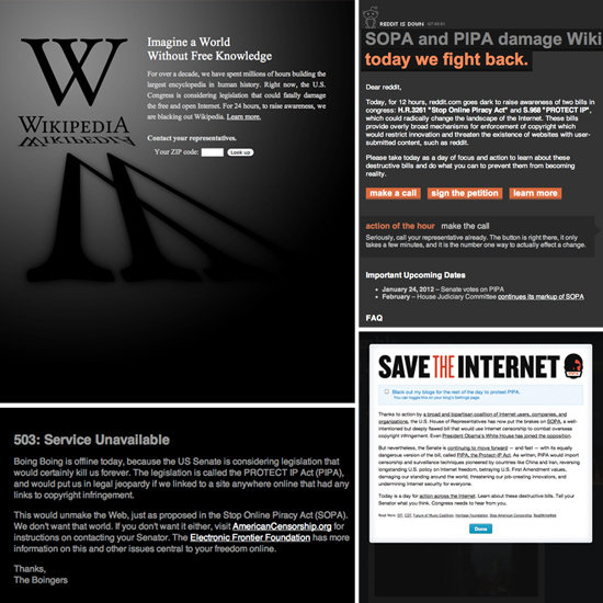 What the Internet Looks Like in Protest of SOPA and PIPA