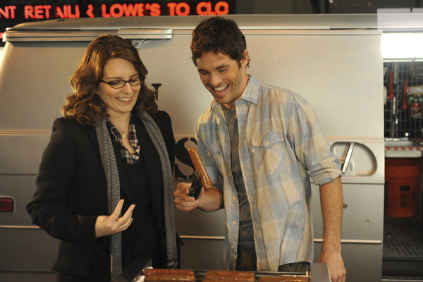 In true Liz Lemon style, she and Marsden get excited over a hot dog. He plays Liz's most recent love interest in tonight's episode! We can't wait to see how that pans out.  Photo courtesy of NBC