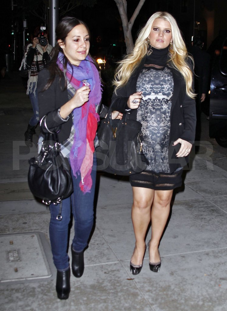 Jessica Simpson arrived for a party at Mastro's steakhouse in LA.