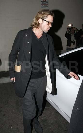 Brad Pitt got into his car in LA.